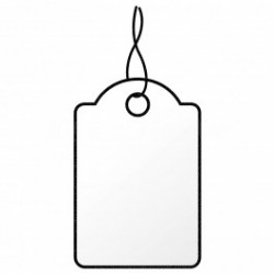100 hang tags paper, white-14 x 21 mm